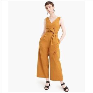 J. crew wrap tie jumpsuit 6 caramel euc marigold